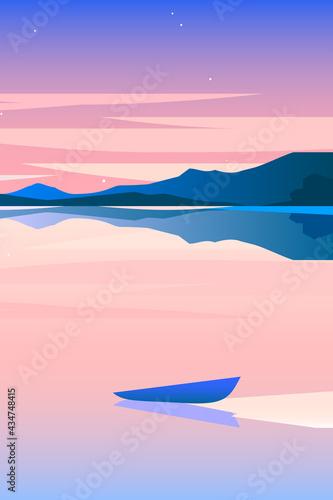 Fotografia Minimalist geometric lakeside landscape