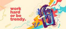 Abstract Lifestyle Graffiti Design With Jukebox And Slogan. Vector Illustration.