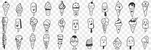 Fototapeta Sweet ice cream shapes doodle set