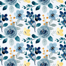 Seamless Pattern Of Blue Flowers And Little Yellow Flower With Watercolor