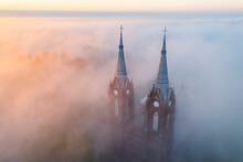 The Towers Of Vilkija Church At Sunrise
