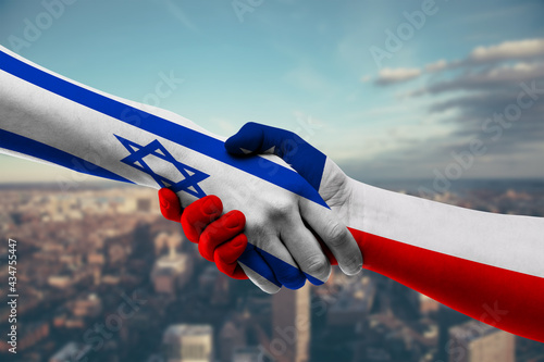 Carta da parati Business shaking hands with Israel