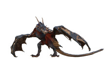Wyvern Or Dragon Fantasy Creature Walking In Menacing Pose. 3D Illustration Isolated On White.