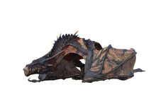 Wyvern Or Dragon Fantasy Creature  Standing With Wings Folded And Head Close To The Ground. 3D Illustration Isolated On White.
