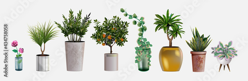 Collection of vector realistic detailed house or office plant for interior design and decoration Fototapet