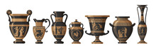 Set Of Antique Greek Amphoras, Vases With Patterns, Decorations And Life Scenes. Ancient Decorative Pots Isolated On White Background, Old Clay Jugs, Ceramic Pottery. Vector Illustration