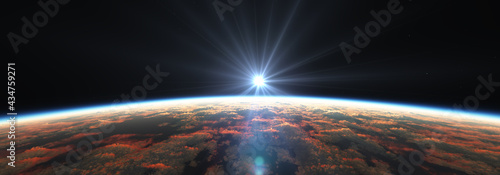 Fotografie, Obraz Earth sunrise from space over cloudy ocean. 3d rendering