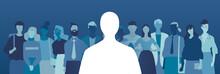 Silhouette Di Un Candidato Anonimo Scelto Su Un Gruppo Di Persone In Attesa Della Selezione