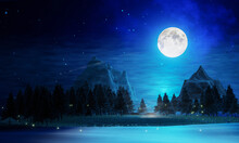 Wide Grasslands With Pine Trees And Mountains Alternate In Background. Full Moon Night Bright Stars Are Filling The Sky. Night Mountain Scenery With Fireflies Flying Above The Ground. 3D Rendering