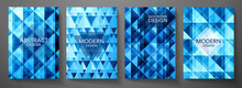 Modern Blue Cover Design Set. Creative Geometric Pattern (digital Geometric Texture). Abstract Contemporary Vector Background For Business Brochure, Futuristic Template, Technology Concept
