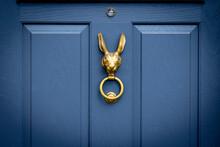 Blue Wooden Front Door With Bronze Rabbit Head Door Knocker