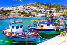 Traditional Greece - Charming Fishing Village With Colorful Boats,Leros Island In Dodecanese