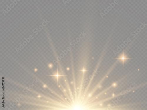 Obraz na plátně Star explosion, yellow glow lights sun rays.