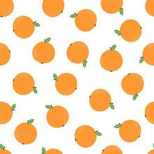 Seamless Pattern With Cartoon Orange Fruit On White
