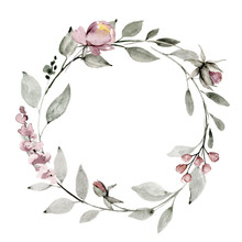 Wreath, Floral Frame, Watercolor Flowers Dusty Pink Roses, Illustration Hand Painted. Isolated On White Background. Perfectly For Greeting Card Design.