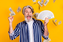 Photo Of Happy Crazy Excited Smiling Mature Man Winning Lot Of Money Hold Fist In Victory Isolated On Yellow Color Background