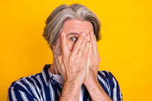Photo Of Scared Afraid Mature Man Cover Close Face With Hands Frightened Scared Isolated On Yellow Color Background