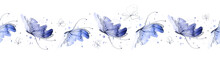 A Seamless Pattern With Watercolor Butterflies. Hand Painted Tape Illustration Isolated On White Background