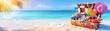 Leinwandbild Motiv Beach Holiday - Travel Suitcase On Tropical Sand With Sunny Sea