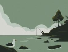 Silhouete Of A Man Fishing