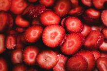 Pile Of Strawberry Slices. Close-up Of Fresh Strawberries.