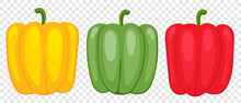 Sweet Pepper Green, Yellow And Red, Drawn By Cartoon Vector, Three Vegetables For Vegetarian Food. Illustration In Flat Childish Style.