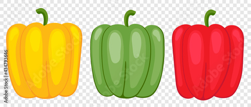 Fotografía Sweet pepper green, yellow and red, drawn by cartoon vector, three vegetables for vegetarian food