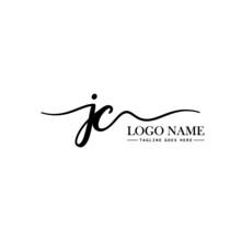 Initial Handwriting Logo Design Template Letter JC