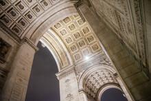 Paris, France - February 3, 2017: World Famous Arc De Triomphe At The City Center Of Paris, France. Under Arch View