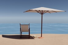 Beach, Book And Parasol. 3D Rendering