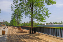 A Modern Embankment Equipped With Sun Loungers In The City On The Banks Of The Guslitsa River. Urbanism