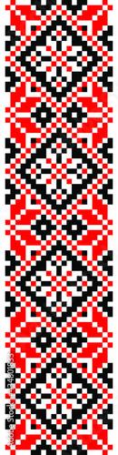 Fotografiet vector seamless ethnic folk Ukrainian minimalistic pattern on white background