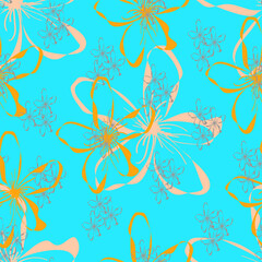 Fototapeta na wymiar Seamless pattern with hand drawn colorful flowers in flat style,simple botanical illustration,bright print for wallpaper and wrapping paper,cover and interior design,fabric,blue background