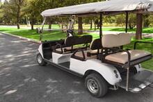 Electrical Hotel Or Resort Service Car Closeup. Golf Car Close Up. Long Electric Shuttle Passenger Bus.