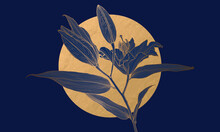 Luxury Art Deco Gold Metallic Lily Flower Linear Drawing And Moon On Deep Blue. Wallpaper Design For Print, Poster, Cover, Banner, Fabric, Invitation, Postcard, Packaging. Digital Vector Illustration.