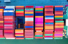 Aerial View Of Colorful Containers On Cargo Ship In Southampton, One Of The UK's Leading Port Terminal Operators And This Container Terminal Is Britain's Second Largest Deep Sea Terminal.