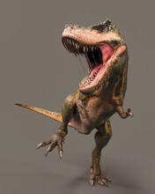Green Tyrannosaurus Rex Is Standing Up On Dark Background