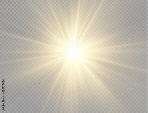 Wallpaper Mural Star burst with light, yellow sun rays.