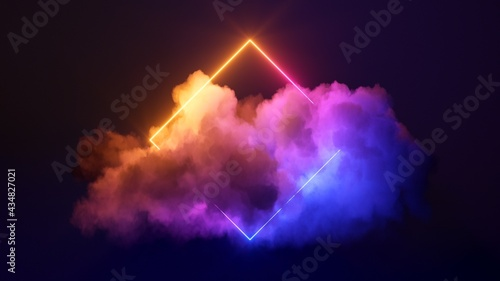 Fotografie, Obraz 3d render, abstract minimal background with pink blue yellow neon light square f