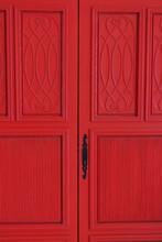 Old Red Wood Door. Antique Red Door