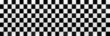 Panorama Of White And Black Checkered Ceramic Tiles Pattern And Background Seamless