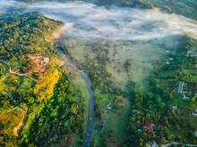 Aerial View Of The River Yaque Del Norte, Dominican Republic