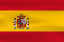 Country Flag Spain With Beautiful Wrinkles And Shiny Weight.