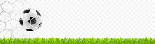 Soccer Football On The Net With Grass. European Championship 2021. Vector Illustration Isolated