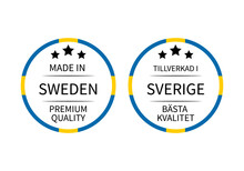 Made In Sweden Round Labels In English And In Swedish Languages. Quality Mark Vector Icon. Perfect For Logo Design, Tags, Badges, Stickers, Emblem, Product Package, Etc