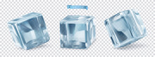 Ice Cube With Transparent. 3d Vector Realistic Set Of Objects