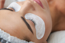 Lash Laminating And Painting, Closeup Face. Beauty Procedures In Cosmetology Clinic