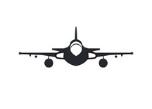 Single Tail Jet Fighter. Simple Silhouette Illustration