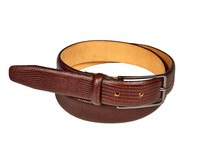 Rolled Up Dark Brown Leather Belt With Snakeskin Texture Isolated On White Background