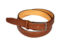 Rolled Up Brown Leather Belt With Snakeskin Texture Isolated On White Background
